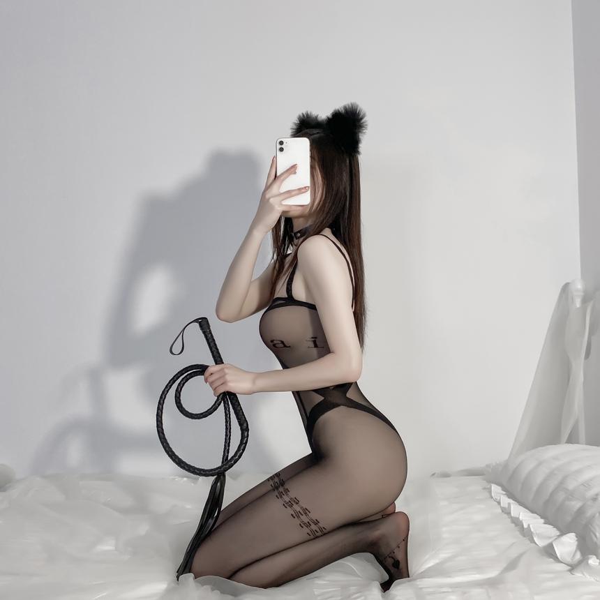 레터링 밑트임 바디 스타킹