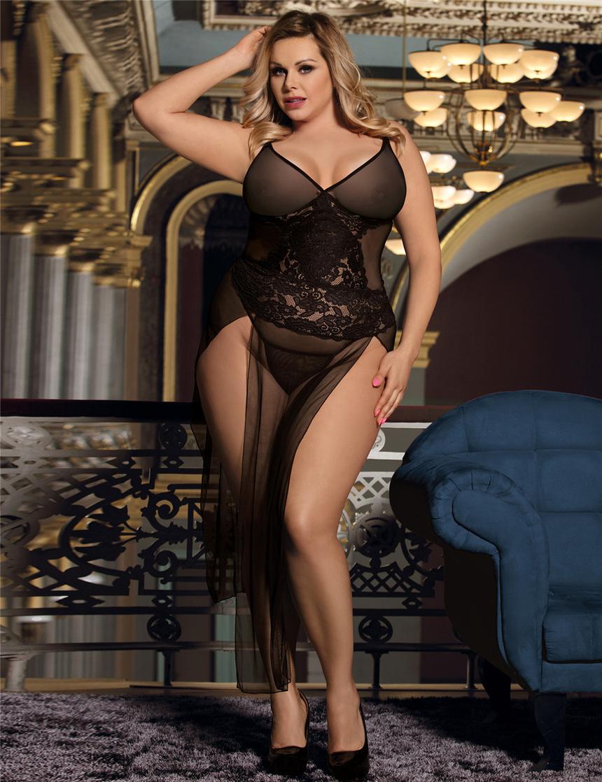 빅 사이즈 롱 블랙 레이스 드레스 XL