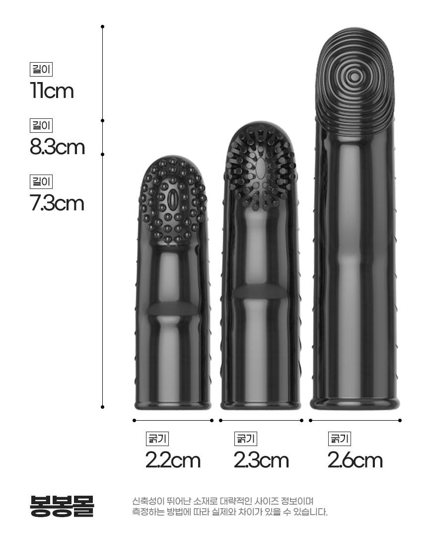 블랙 손가락 진동 콘돔 3세트